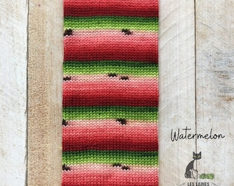 Bis-sock yarn Watermelon self-striping hand-dyed yarn