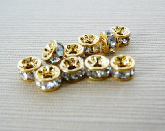 SALE 400 Gold Brass Rhinestone Spacer Beads Clear 10 x 4mm
