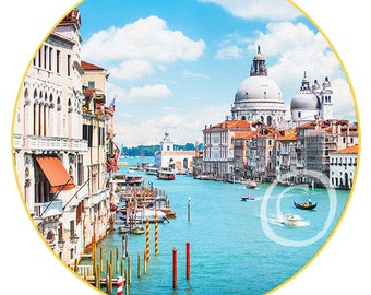 """Venice #1 print on canvas in the form of the Art Disk D 35"""" - 89cm"""