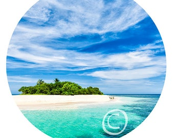 """Caribbean Island - print of canvas in the form of the Art Disk 35"""" - 89 cm"""