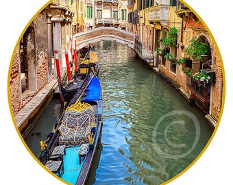 """Venice #3 print on canvas in the form of the Art Disk D 35"""" - 89cm"""