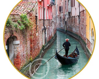 """Venice #5 print on canvas in the form of the Art Disk D 35"""" - 89cm"""