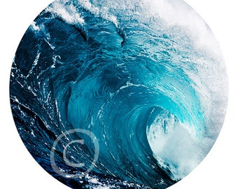 """Ocean Wave - print of canvas in the form of the Art Disk 35"""" - 89 cm"""
