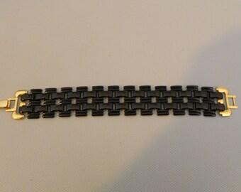Vintage Black Link Enameled Bracelet