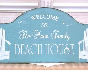 WELCOME to the Beach House, Lake house, rustic personalized family vacation house sign, down the shore, realtor housewarming gift