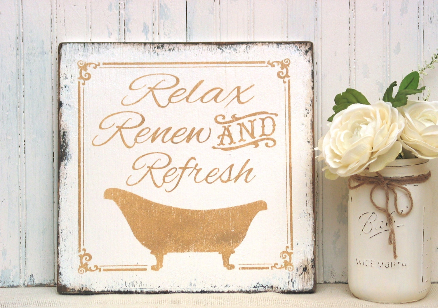 Relax Renew Refresh Bathroom Sign Rustic Cottage Bath Sign
