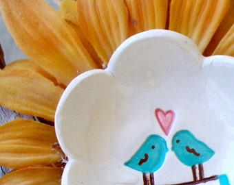 Love Birds Ring Bowl  - Flower Shaped,  Flower Petal Ceramic Ring Dish - Ring Bowl - Trinket Dish - Gift Dish - Flower Dish