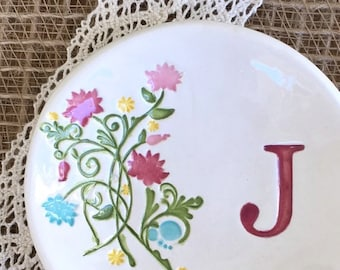 Ring Dish - Personalized Monogram w/ Summer Floral Design, Wedding Ring Holder, Bridesmaid Jewelry Gift Dish, Personalized Bridesmaid Gift
