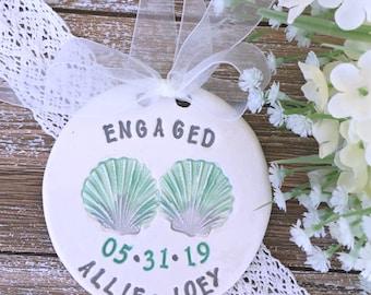 Beach Theme Wedding Ornament    Seashells Engagement Ornament   Engaged Ornament   Personalized Engagement Gift   Engagement Gift Idea