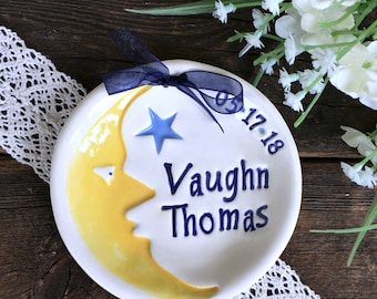 Personalized Baby Keepsake Dish - Moon and Stars - Ceramic Birth Announcement - Baby Dish - Baby Plate - Nursery Decor - New Baby Gift