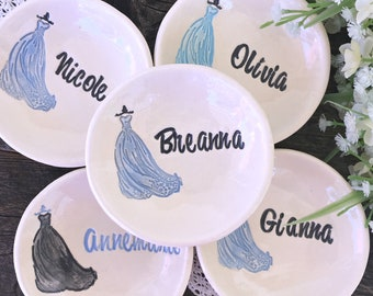 Bridesmaid Gift Ring Dish   Personalized Bridesmaids Gifts   Jewelry Bowl   Ceramic Ring Dish   Bridesmaids Dress Dish