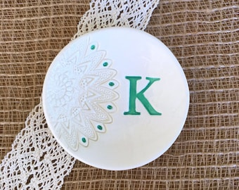 Unique Bridesmaid Gift or Wedding Gift - Lace Impressed Monogrammed Ceramic Ring Dish Personalized, Wedding Ring Holder, Trinket Dish