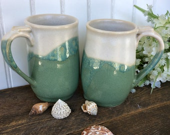 Mug Set of Two - Beach Chic Coffee Mug Set - Tea Mug Set - Stoneware Mugs - Pottery Mugs - Handcrafted Kitchen Mugs - Ready to Ship
