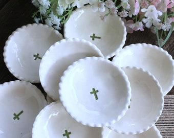 First Communion Favors - Baptism Favors, Tiny Ring Dish with Cross, First Holy Communion Favor, First Communion Gift, Christening Favors