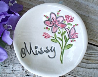 Bridesmaid Floral Ring Dish Personalized - Bridesmaid Proposal Dish - Unique Bridesmaid Gift - Will You Be My Bridesmaid - Jewelry Dish