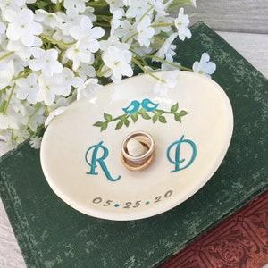 Monogrammed Wedding Ring Holder Ring Dish w Double Monogram Wedding Gift for Couple Personalized Ceramic Ring Dish