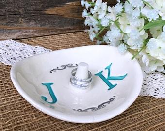 Monogrammed Wedding Ring Holder - Ring Dish w/ Double Monogram - Personalized Ring Dish Wedding Gift for Couple - Ring Pillow Alternative