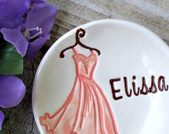 Bridesmaid Gift Jewelry Dish w/Tiered Bridesmaid Dress Image - Personalized Bridesmaid Ring Dish Gift for Bridesmaid
