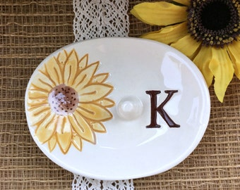 Sunflower Ring Holder - Oval Ring Dish, Ring Bowl, Wedding Ring Holder, Monogrammed Gift, Posted Ring Holder