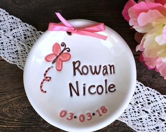 New Baby Butterfly Keepsake Dish Personalized and Dated, Ceramic Birth Announcement, New Baby Gift, New Mommy Gift
