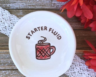 Starter Fluid Funny Spoon Rest | Kitchen Spoon Rest | Coffee Lovers Gift | Pottery Spoon Holder | Ceramic Spoon Rest | Hostess Gift