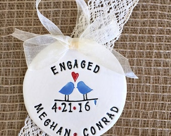 Engagement Ornament with Love Birds - Personalized  Ornament - Wedding Ornament - Engagement Gift - Wedding Gift - Ceramic Ornament