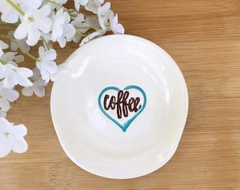 Coffee Lovers Spoon Rest | Mini Teaspoon Rest | Coffee Lovers Gift | Coffee Spoon Holder | Ceramic Spoon Rest | Kitchen Spoon Rest