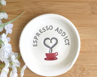 Espresso Addict Mini Coffee Spoon Rest | Mini Teaspoon Rest | Coffee Lovers Gift | Small Spoon Holder | Ceramic Spoon Rest | Hostess Gift