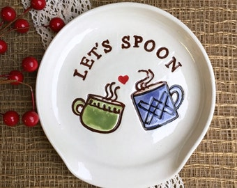 Spoon Rest - Let's Spoon Ceramic Spoon Rest with Mugs and Heart - Funny Spoon Rest and Tea Bag Holder