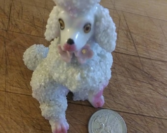 Lusterware Pink Curly chenille Satin bows Spaghetti Trim Mid Century 1950s Rare French Poodle For the Collector Pink and White