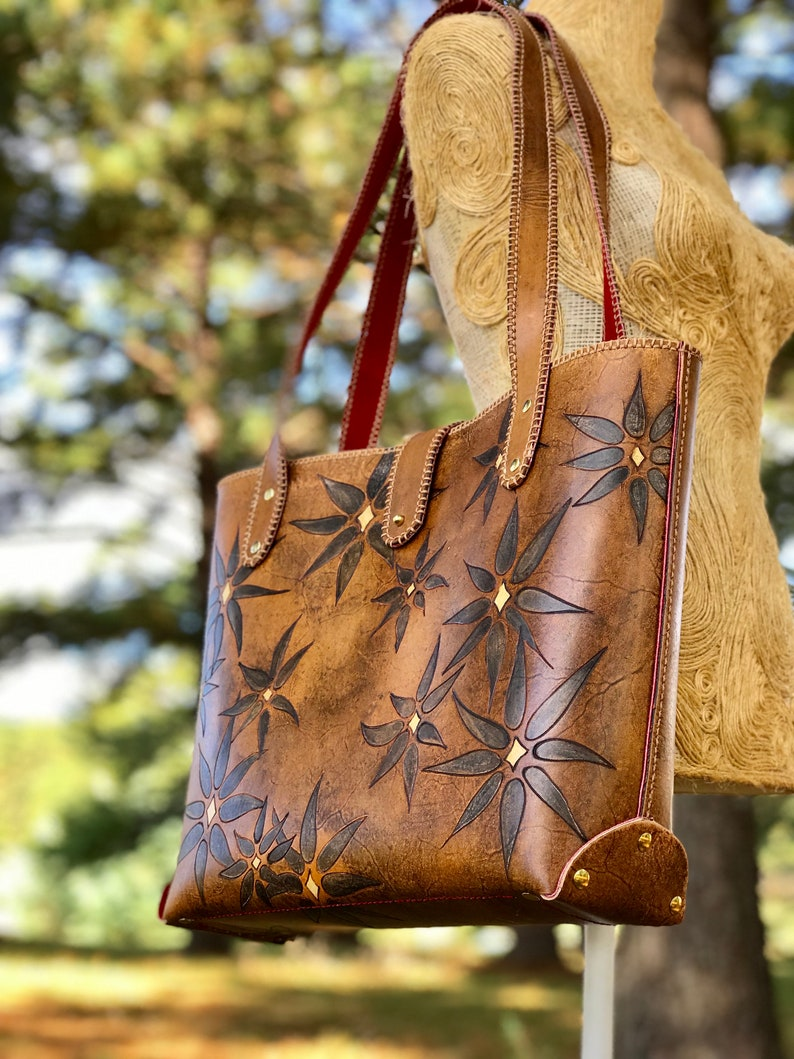 Black Daisy Leather and Suede Tote image 0