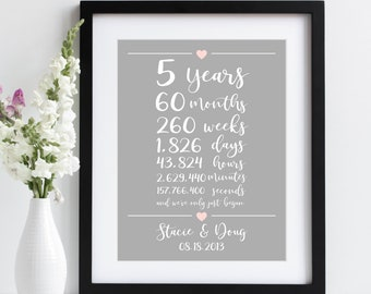 5th Anniversary Gift ~ 5 Years Together Art Print | Five Years Fifth Wedding Anniversary Gift | Weeks Days Hours Minutes Seconds Together