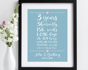 3rd Anniversary Gift ~ 3 Years Together Art Print | 3rd Third Wedding Anniversary Gift | Weeks Days Hours Minutes Seconds Together