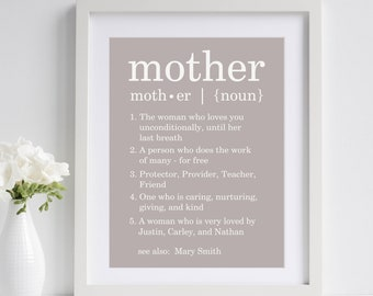 Definition of Mother ~ Mothers Day Gift for Mom | Birthday Gift for Mother | Mothers Day Gift from Children Daughter Husband