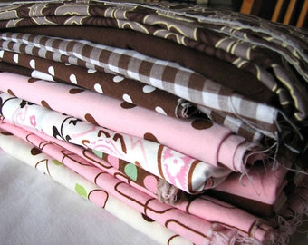 Destash-Pink and Brown Fabric Remnant Pack