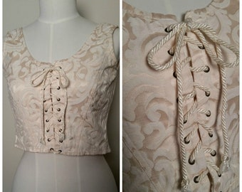 Vintage 1990s Renaissance Style Ivory Brocade Laced Front Corset Style Cropped Top Small