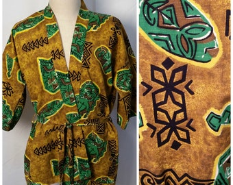 75e064d1e5962 1950s 1960s Vintage Hawaiian Barkcloth Tiki Print Barkcloth Mens Robe Pool  Lounger