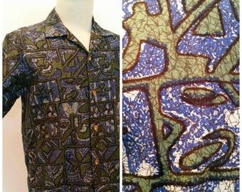 Swanky 1950s Vintage Mens Hawaiian Tiki Loop Collar Shirt by McInerney Hawaiian Casuals Metal Buttons Large