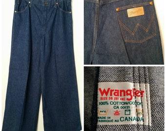345c91f50c NOS Deadstock 1970s WRANGLER Vintage Jeans Denim Super Wide Leg High Waist  36 Waist 32 Long