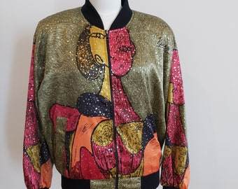Vintage 1990s Picasso Surrealist Print Oversized Bomber Jacket Olive Green & Gold Medium to Large