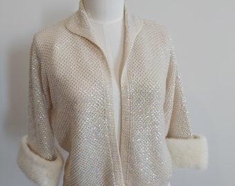 Vintage 1960s Sequined Ivory Cardigan Sweater Mink Fur Cuffs Trim Wedding Size 44 Medium to Large
