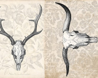 """Roycycled Treasures Antler Project Block Cow & Deer Skull 18 Lb. Decoupage Paper 20""""x30"""" for Furniture and More Ships Worldwide"""