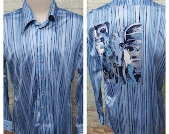 "NOS Oleg Cassini by Burma Vintage 1970s Mens' Slinky Nylon Blue Disco Shirt Size XL 47"" Chest"