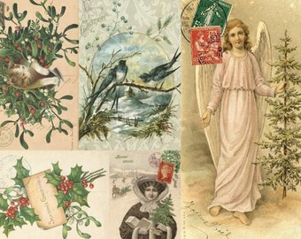 """Roycycled Treasures CHRISTMAS Project Blocks B - 5 Victorian Designs -  18 Lb. Decoupage Paper 20""""x30"""" for Furniture & More Ships Worldwide"""