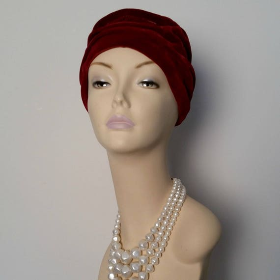 Vintage 1960s Chic Boho Rich Burgundy Velvet Turban Hat  28aeb6b9b0f