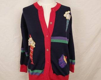 Vintage 1970s Cardigan Sweater Ice Cream & Cupcake Appliques Medium to Large