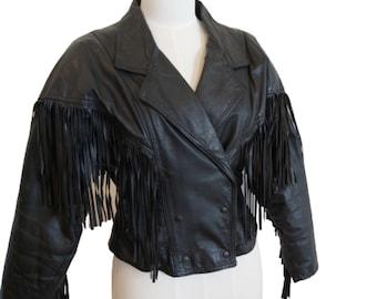 Vintage 1980s Ladies Black Fringed Leather Jacket Rocker Biker Size 10 - Small to Medium