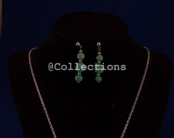 Mint green necklace earrings set