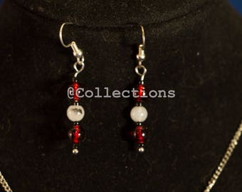 Red and grey necklace earrings set