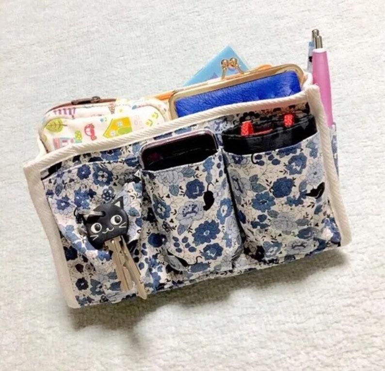 Blue Purse Organizer  Inner Purse  Purse Insert  Bag in Bag - Black Cats in a Flower Garden